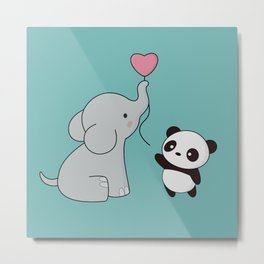 Kawaii Cute Elephant and Panda Metal Print