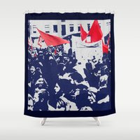 free shipping Shower Curtains featuring Black and red  by Ordiraptus