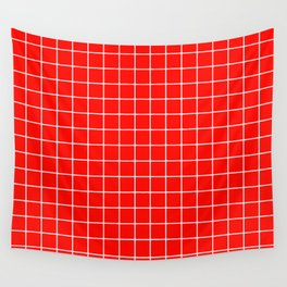 Candy apple red - red color - White Lines Grid Pattern Wall Tapestry