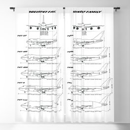 Boeing 747 Family Blueprint in High Resolution (white) Blackout Curtain