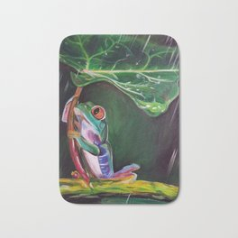 Tree Frog with a Leaf Umbrella Bath Mat