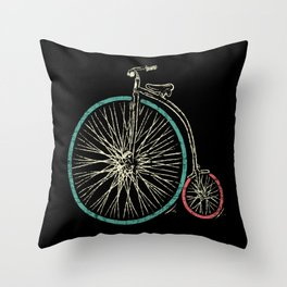 Cycling Forever | Penny Farthing High Wheel Throw Pillow