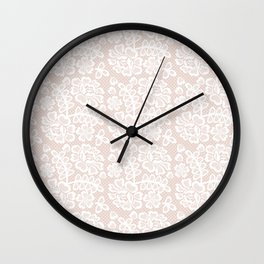 Elegant coral white modern floral lace pattern Wall Clock