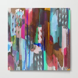 Brushed multicolor abstract painting Metal Print