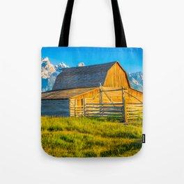 Grand Teton National Park Mormon Barn Print Tote Bag
