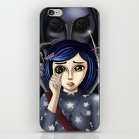 coraline iPhone & iPod Skins featuring Coraline and the secret door by Artik