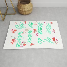 Men of sense do not want silly wives - Mint Green & Red Palette Rug