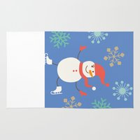 snowman Area & Throw Rugs featuring Snowman by Mr & Mrs Quirynen