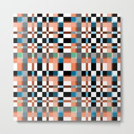 Blue white orange geometric pattern . Metal Print
