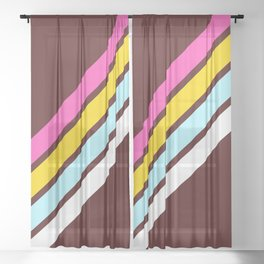 80's Style Retro Stripes Sheer Curtain