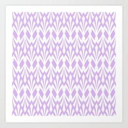 Decorative Plumes - White on Lavender Pink Art Print