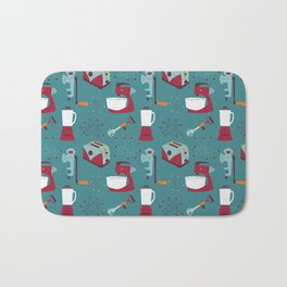 Retro Kitchen - Teal and Raspberry Bath Mat