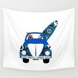 Dog's Surf Day Out Wall Tapestry