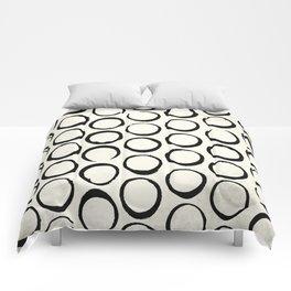 Polka Dots Circles Tribal Black and White Comforters