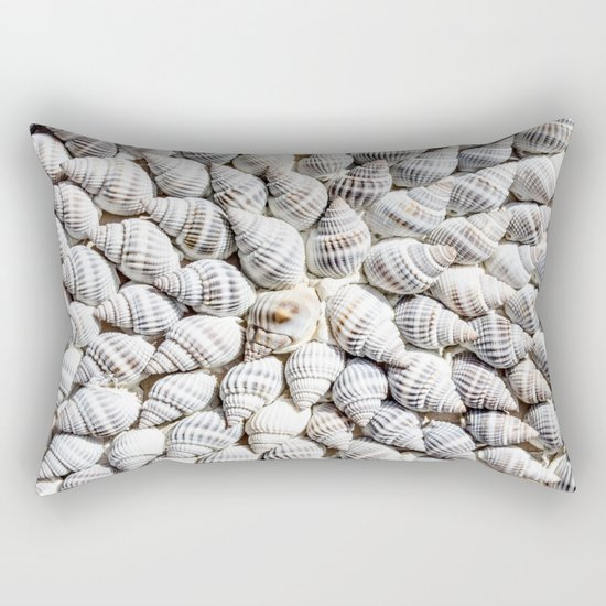 White Seashells Pattern Rectangular Pillow