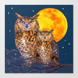 TWO OWLS IN FULL MOONSCAPE NIGHT Canvas Print