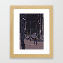 Kitsune at Night Framed Art Print