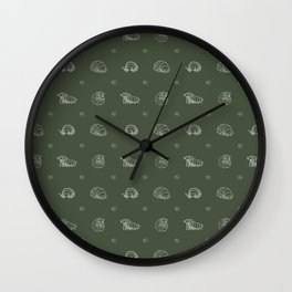 Roly Poly Party! White Lineart on Green Wall Clock
