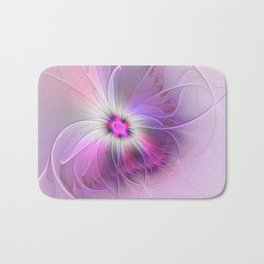 Abstract Flower With Pink And Purple Fractal Bath Mat