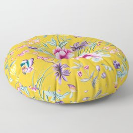 Yellow Chinoiserie Asian Floral Print Floor Pillow