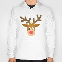 reindeer Hoodies featuring reindeer by elvia montemayor