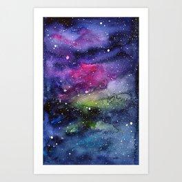 Galaxy Watercolor Night Sky Painting Nebula Art Art Print
