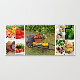 Garden Vegetable Collage - Kitchen or Restaurant Decor Canvas Print
