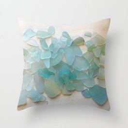 Ocean Hue Sea Glass Throw Pillow