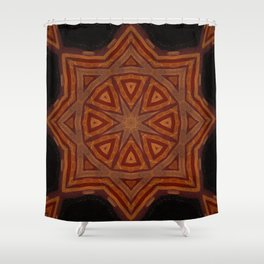 Sahara Nights // Visionary Art Mandala Star Black Red Geometric Circle Shower Curtain
