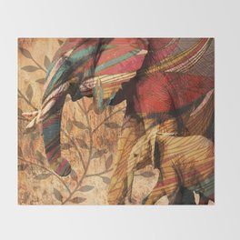 African Patterned Elephants Throw Blanket