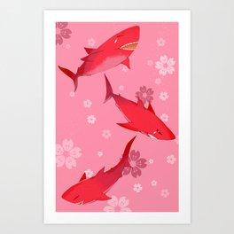 Sakura Shark Art Print