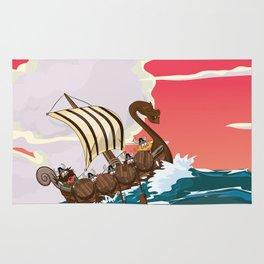 Viking Invasion fleet in the evening sunset Rug