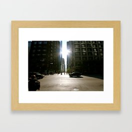 Sun Between Buildings Framed Art Print