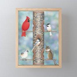 black capped chickadees, cardinal, tufted titmouse, & chipmunk at the bird feeder Framed Mini Art Print