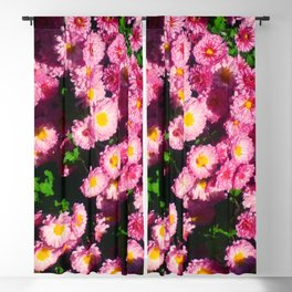 Pink Flower Bushes Blackout Curtain