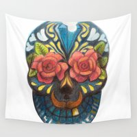 mexican Wall Tapestries featuring mexican skull by Nioko