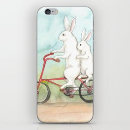 Bunnies on a Bicycle iPhone Skin