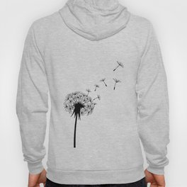 Black and White Dandelion Blowing in the Wind Hoody
