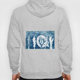 linocut trees print Hoody