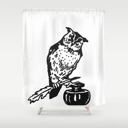 So Wise Black Owl Shower Curtain