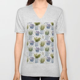cactus in patterned pots pattern Unisex V-Neck
