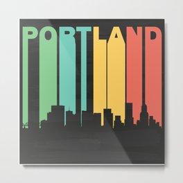 Vintage Portland Cityscape Metal Print