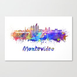 Montevideo skyline in watercolor Canvas Print