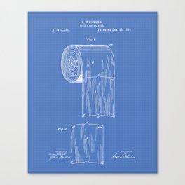 Toilet Paper Roll 1891 Patent Art Illustration Blueprint Canvas Print