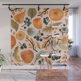 Vintage fruit watercolor hand drawn on pastel background illustration pattern Wall Mural