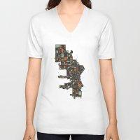 milwaukee V-neck T-shirts featuring Milwaukee by BigRedSharks