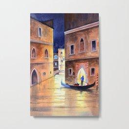 Venice Italy Evening Gondola Ride Metal Print