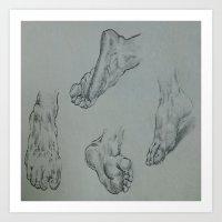 feet Art Prints featuring Feet by Esteban Garza