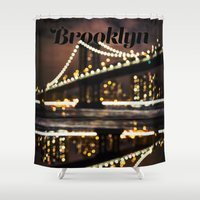 brooklyn Shower Curtains featuring Brooklyn by Isabel Lee Art