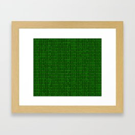 Binary numbers pattern in green Framed Art Print